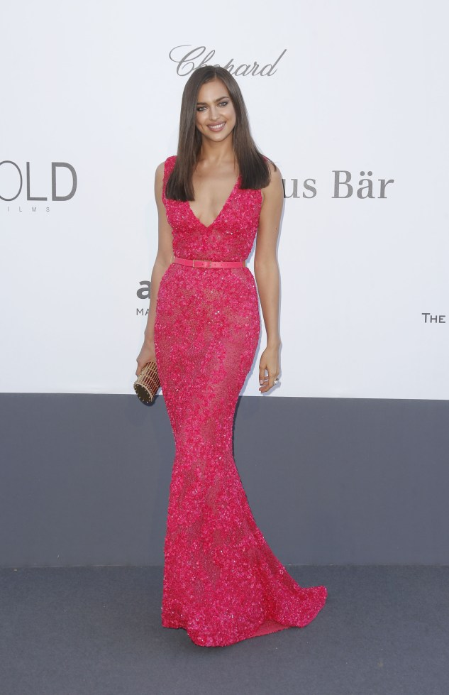 Model Irina Shayk arrives at amfAR Cinema Against AIDS benefit at the Hotel du Cap-Eden-Roc, during the 66th international film festival, in Cap d'Antibes, southern France, Thursday, May 23, 2013. (Photo by Todd Williamson/Invision/AP)